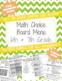 6th and 7th Grade Standards based Choice Board Menu with Rubrics (Math)