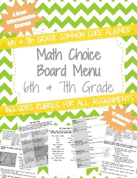 6th and 7th Grade Standards based Choice Board Menu with R