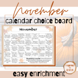 Choice Board - NOVEMBER Calendar - gifted and talented enrichment