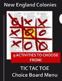 New England Colonies Choice Board: Colonial America Tic Tac Toe Menu