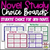 Reading Choice Board Novel Study Student Choice - Works wi