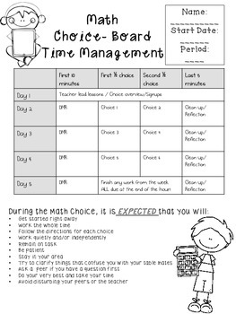 Choice Board Organizing and Planning Packet