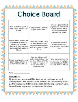 Choice Board Pilgrims & Settlers
