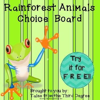Choice Board - Rainforest Animals