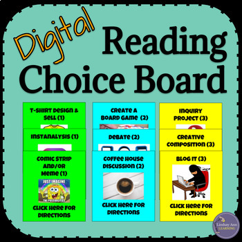 Fiction Reading Digital Choice Board for Any Novel or Short Story