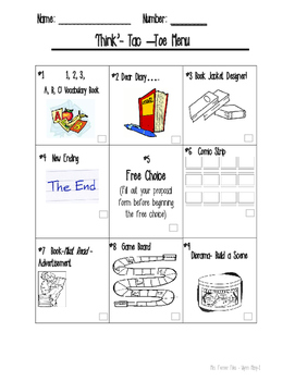 'Think' Tac Toe Choice Board-Reading Differentiation