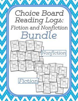Choice Board Reading Logs: Fiction and Nonfiction Bundle
