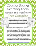 Choice Board Reading Logs: Fiction and Nonfiction FREE Samples