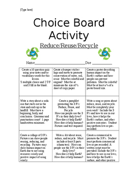 Choice Board Reduce, Reuse, and Recycle