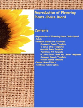 Choice Board-Reproduction of Flowering Plants
