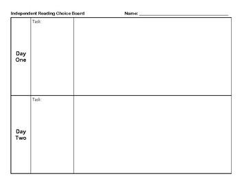 Choice Board Response Sheet