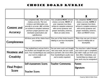 Choice Board Rubric Freebie Reading Menu Book Project Assessment Scoring Free