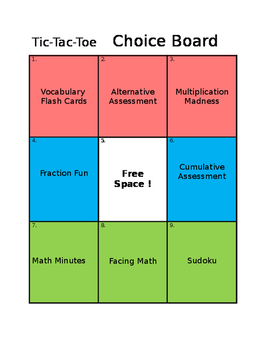 Choice Board Sign