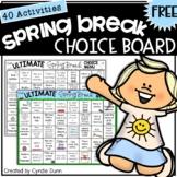 Choice Board Spring Break FREEBIE Distance Learning Home School