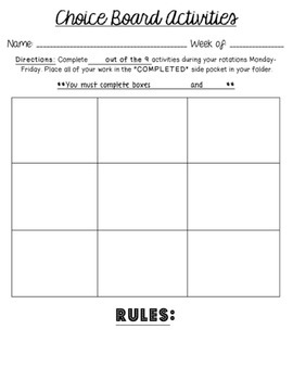 Board template editable for literacy stations centers choice board template editable for literacy stations centers differentiation pronofoot35fo Gallery
