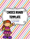Choice Board Template- Editable; for literacy stations, centers, differentiation
