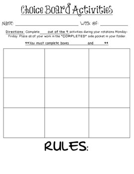 Choice Board Template Editable For Literacy Stations Centers