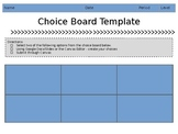 Choice Board Template PPT Format