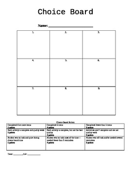 Choice board template with rubric by ginny coalson tpt choice board template with rubric pronofoot35fo Gallery