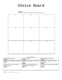 Choice Board Template with Rubric