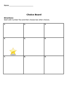 Choice boards template teaching resources teachers pay teachers choice board templates editable pronofoot35fo Choice Image