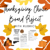 Choice Board Thanksgiving Project for Upper Elementary wit