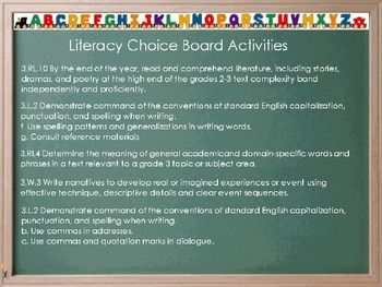 Choice Board- The Statue of Liberty (Reading Street) THIRD GRADE