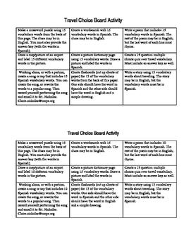 Choice Board- Travel