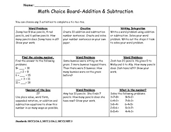Choice Board Unit 2 Addition and Subtraction Common Core 2nd Grade Math