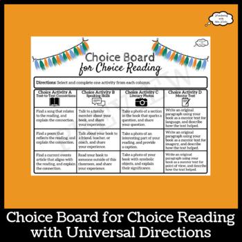 Choice Board for Choice Reading