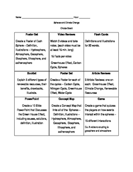 MS ESS3-5 Human Activity and Global Warming Choice Board