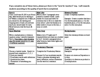 Choice Board for Early Finishers 4th Grade