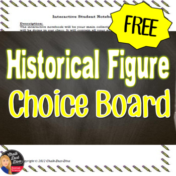 FREE! Choice Board for Historical Figure Project (Grades 7-12)