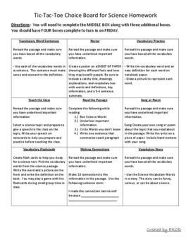 Choice Board for Homework