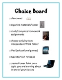 Choice Board for Independent Work Center/Station