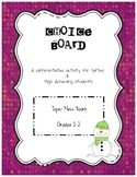 Choice Board for New Years Grade 1-2