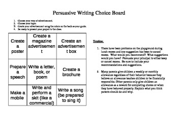 Choice Board for Persuasive Writing