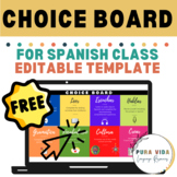 Choice Board for Spanish Distance Learning Class