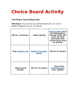 Choice Board for State Testing or When Students are Done