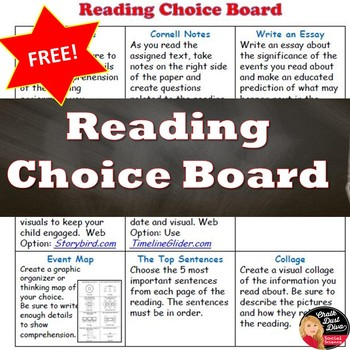 FREE! Choice Board for any READING assignment - Grades 7-12