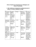 Choice Board of the Comprehension Strategies