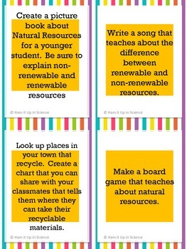 Choice Board or Task Card Activities: Resources and Conservation