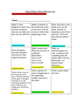 Choice Board/Tic Tac Toe with Differentiated Instruction