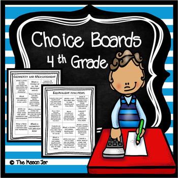 Choice Boards (4th Grade Math) No Prep