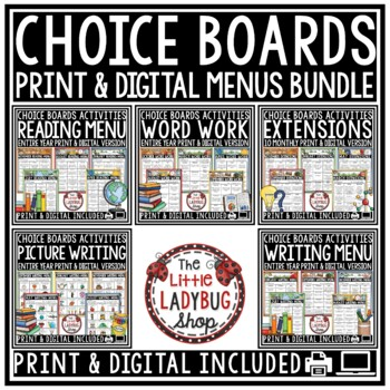 Choice Boards BUNDLE • Reading, Writing, Word Work, Extens