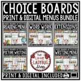 Choice Boards Bundle (Writing Prompts, Word Work, Reading