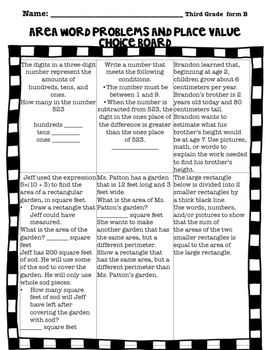 Choice Boards: Math Problems for 3rd Grade-Common Core Aligned