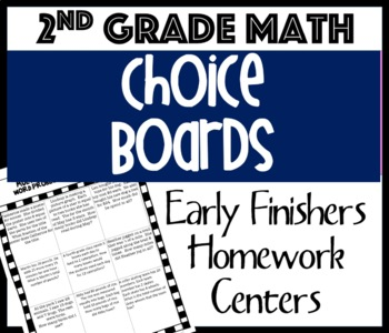 Choice Boards: Math Word Problems for 2nd Grade-Common Core Aligned