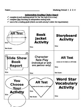 Choice Boards (Tic Tac Toe style) for Independent Reading