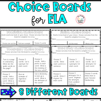 Choice Boards for Centers/Homework: Speaking & Listening, Language, and Reading!
